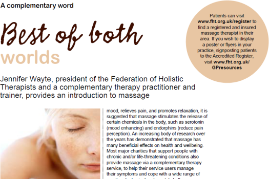 Massage and FHT's Accredited Register promoted in Practice Management magazine