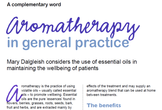 Aromatherapy and FHT's Accredited Register featured in Practice Management