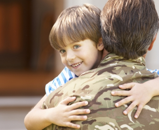 Soldier Returning Home And Greeted By Son