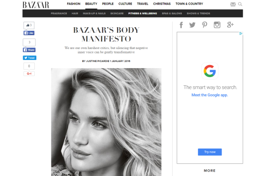 Harper's Bazaar publishes their body manifesto