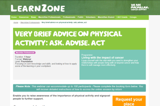 Webinar: giving advice on physical activity