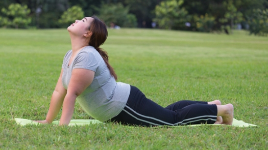 34145658 - obese women yoga on grass