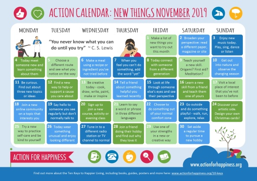 Blog Action for Happiness calendar November