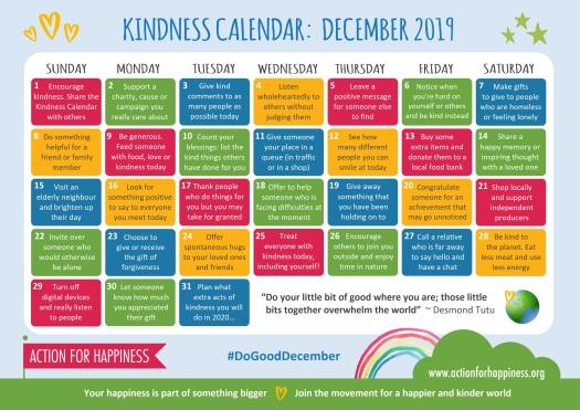 AFH kindness calendar